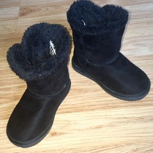 Baby Girl Airwalk Black Slip On Boots Sz 7